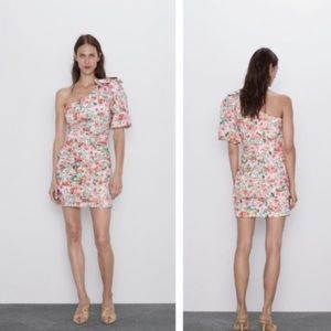 Zara Floral Asymmetrical Bow Dress